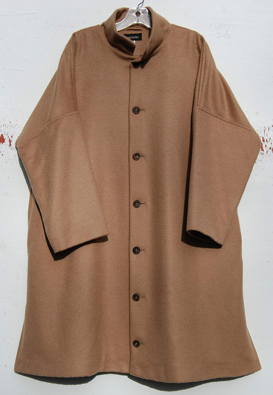 Eskandar CAMEL Baby Camel Hair Imperial Stand Collar 39' Long Coat (0)