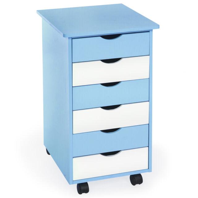 Kinderkommode Schubladen Rollcontainer Schrank Rollwagen Kinderzimmer blau/weiß