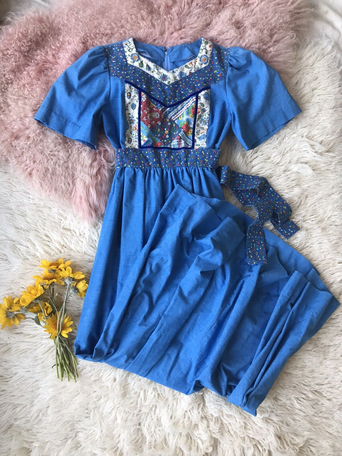 Vintage Homespun Gunne Sax Style Quilted Patchwor… - image 1