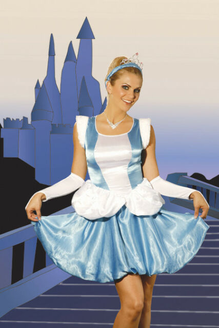 Princess Costume Blue and White Satin Dress Headband and Armlets Large 9356