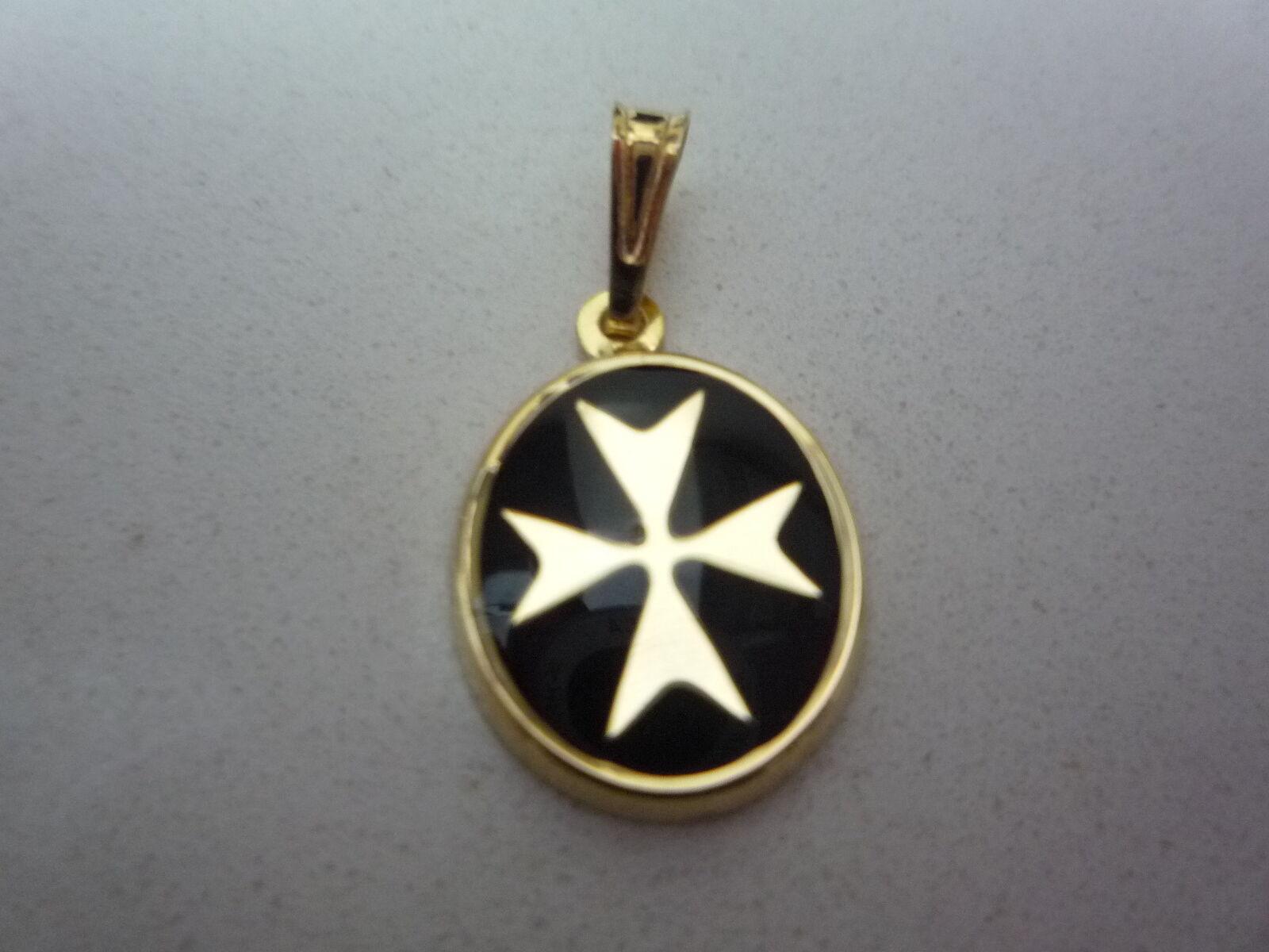 Neu 18 Karat Malteserkreuz Anhänger Oval black Emaille Smalt Ritter Malta