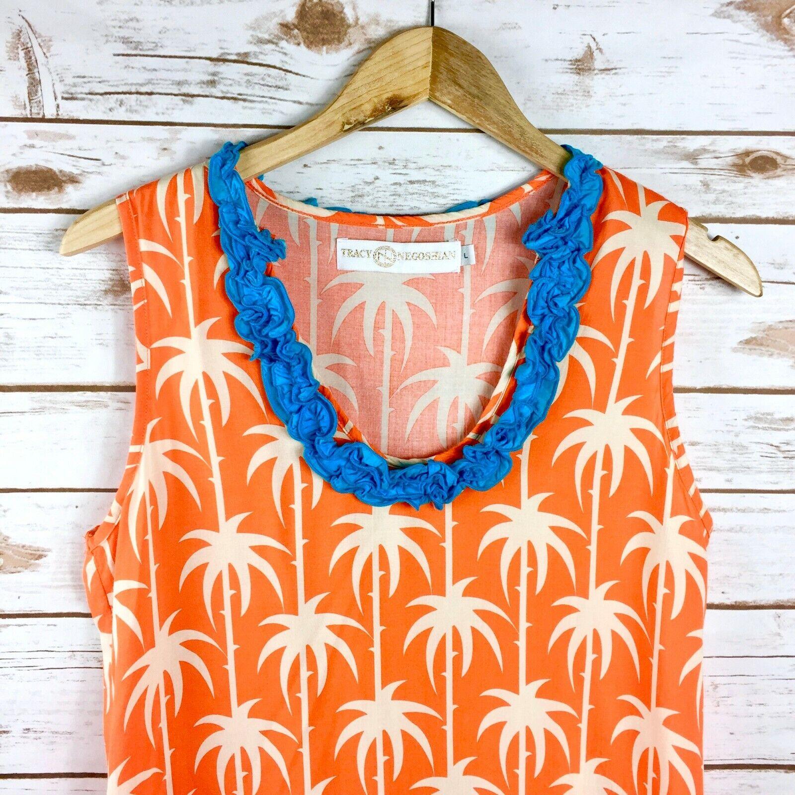 Orange Palm Print Tracey Negoshian Sleeveless Shift Dress w Ruffle Collar Größe L