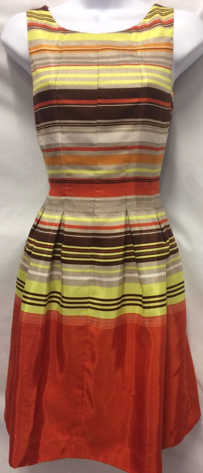JUST TAYLOR Dress Anthropologie Women's Striped  Fit Flare Sleeveless Pleated 2