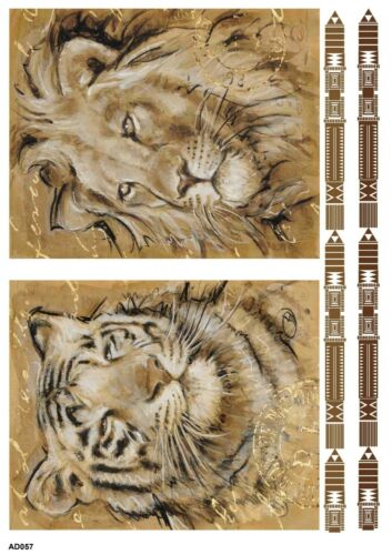 Rice paper decoupage ad057 napkin vintage lion tiger supplies craft scrapbooking