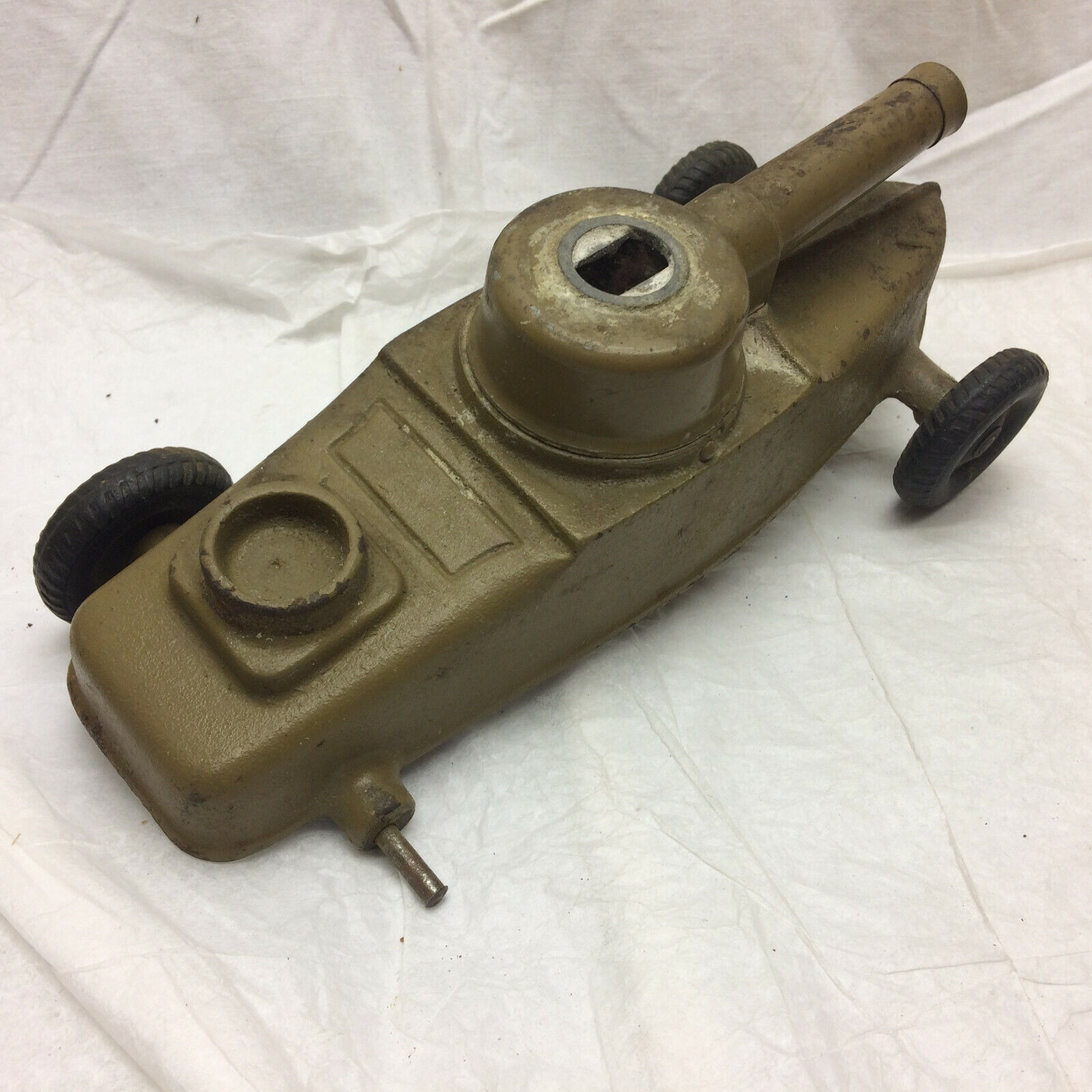 Vintage Toy Antique Cast Metal Army Tank WWI Style