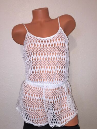 M Victoria/'s Secret Romper Jumper Beach Cover Up Crochet Shorts Kimono S L