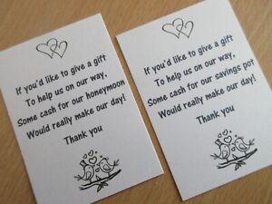 35 Wedding Poem Cards Money Gift Honeymoon Invitations 2 Wording