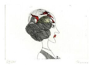 Paul-Flora-Original-Radierung-034-Diffizile-Dame-034