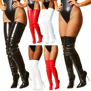Black-White-Red-Patent-Crotch-Over-The-Knee-Thigh-High-Heel-Steel-Stiletto-Boots