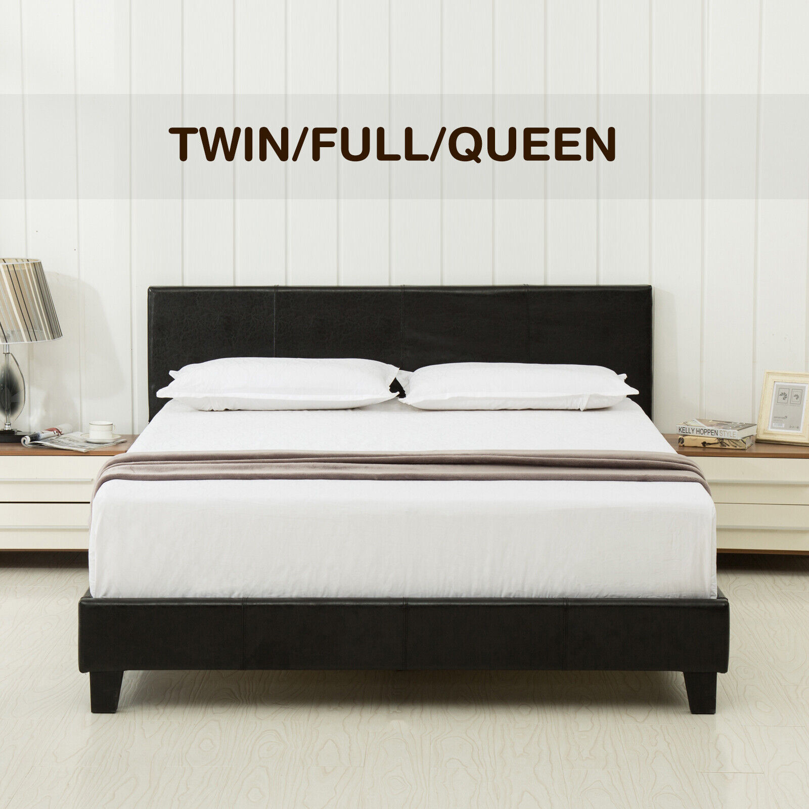Picture of: Black Queen Size Bed Faux Leather Headboard Footboard Rails Frame Ships For Sale Online Ebay