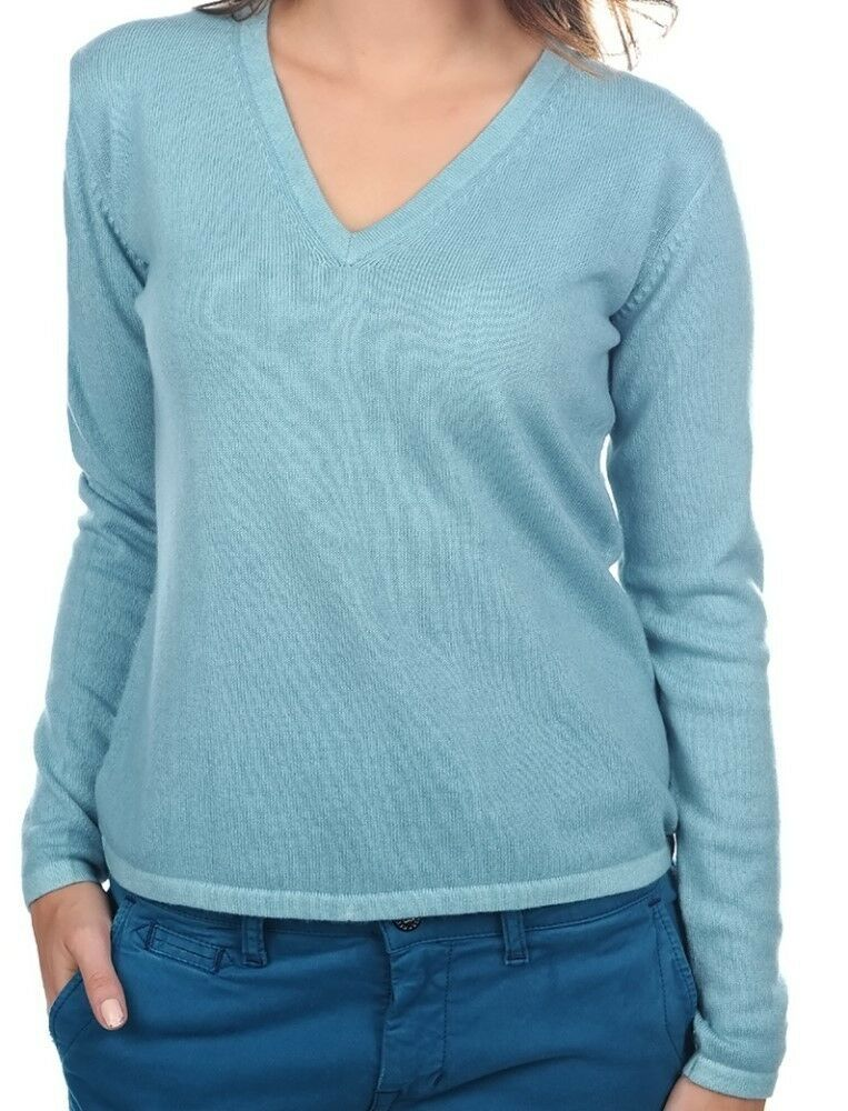Balldiri 100% Cashmere Damen Pullover 2-fädig V-Ausschnitt turmalin XS