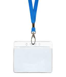 Light-Blue-ID-Lanyard-Neck-Strap-Clip-and-Horizontal-Badge-Card-Tag-Holder-Pouch