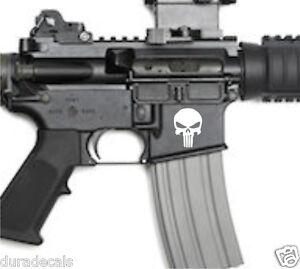 3x - AR15 Lower Punisher Decals | AR-15 5.56 Stickers | 2nd Amendment (White)
