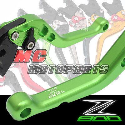 Green shorty Black brake clutch levers set for Kawasaki Z800 2013 14 15