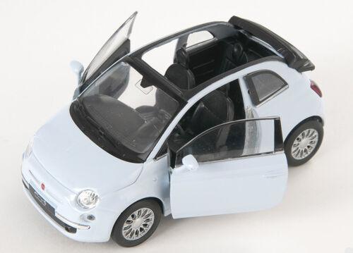 BLITZ VERSAND Fiat 500 C 2010 offen Taubenfarbe Welly Modell Auto 1:34 NEU /& OVP