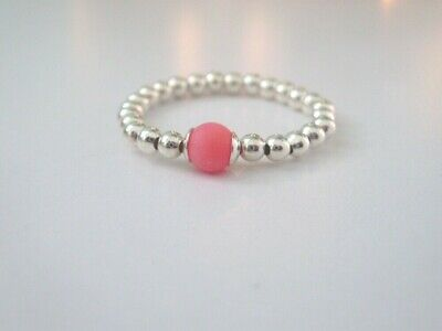 Gift for Women Thumb Ring Handmade Sterling Silver /& Coral Stretch Beaded Toe