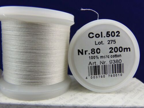 Madeira Thread Size 80//100/% Cotton Thread//200m Spool//White Natural//NEW
