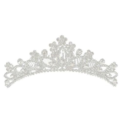 Silver Bridal Flower Girl Prom Rhinestone Crown Tiara Comb Wedding Headband