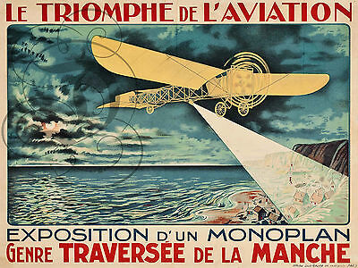 PLAQUE ALU DECO TRIOMPHE AVIATION EXPOSITION MONOPLAN MUSEE MANCHE AVION PLANE