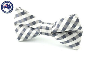 Men-039-s-Bow-Tie-Grey-White-Gingham-Wedding-Ties-Groomsmen-Pre-Tied-Grey-Bow-Ties