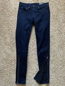 a83117a606c4d rag & bone JEAN Skinny Legging Jeans Ankle Zip Midnight SUPER Dark ...