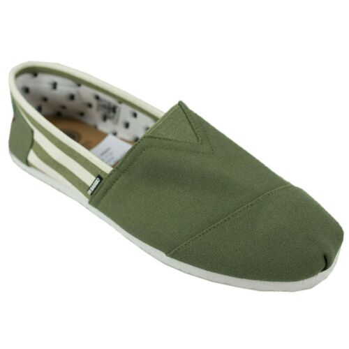 Hommes Di Baggio toile kaki à rayures élastique Summer Slip on Espadrilles Chaussures