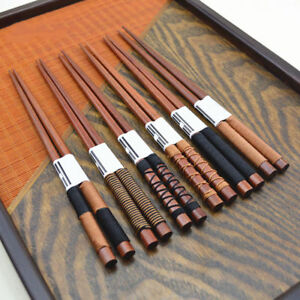 6-Pairs-set-Chopsticks-Classic-Japanese-Natural-Chestnut-Wood-Value-Gift