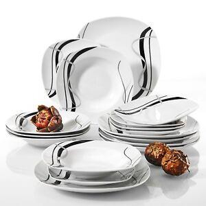Tafelservice-039-Fiona-039-Porzellan-18-tlg-Geschirrset-Essteller-Dessertteller-Soup