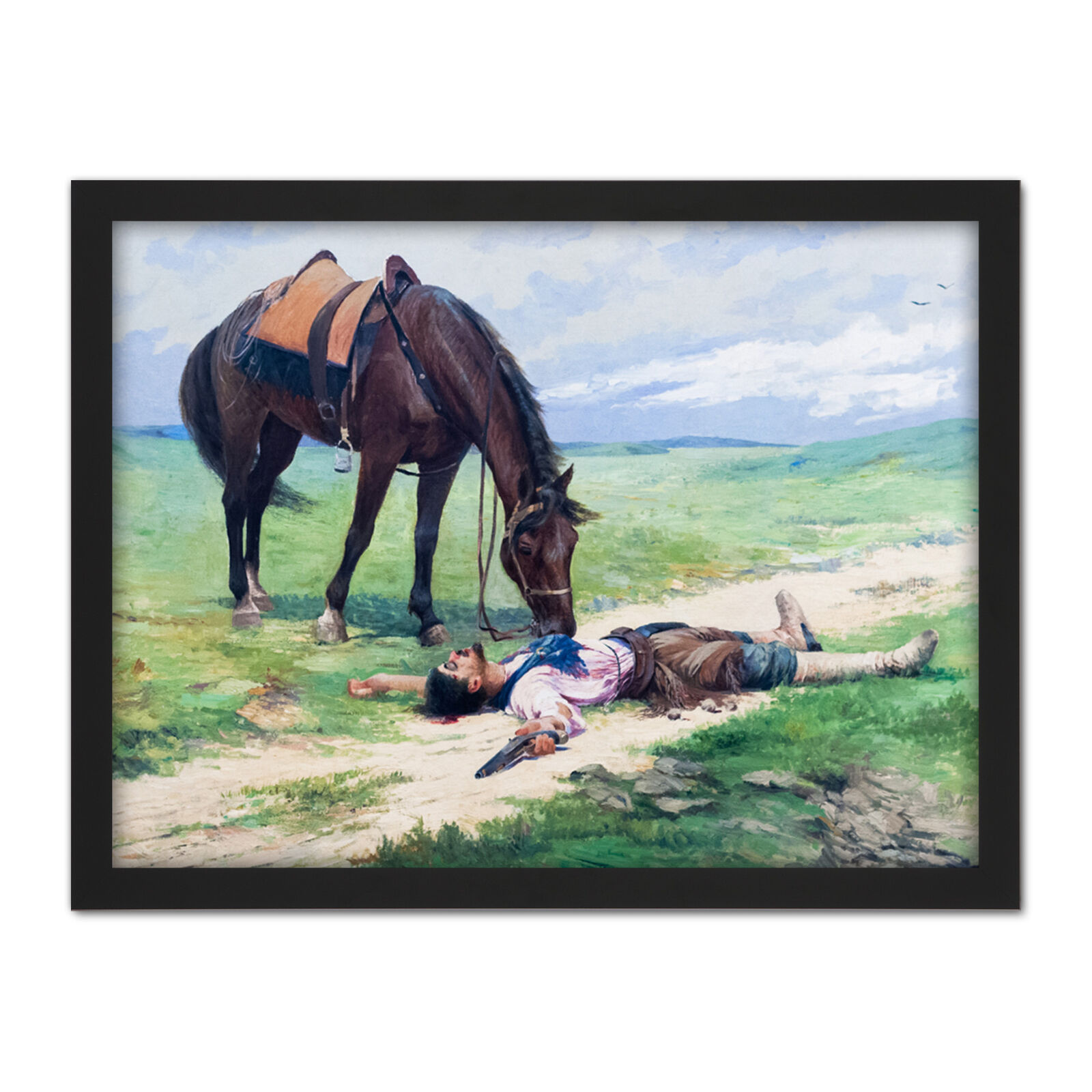 Parreiras The End Of Romance Horse Painting Framed Wall Art Print 18X24 In