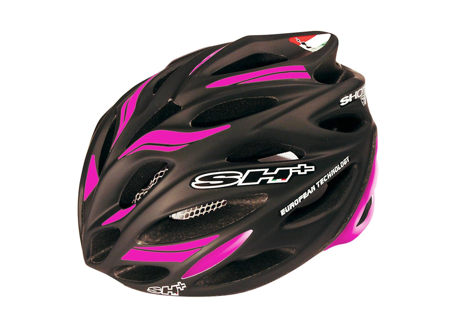 Casco  Sh+ Shot R1 profesional de Ciclismo Cochebono Fluor Negro y Fucsia  6085nfuc  para mayoristas