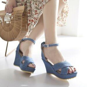 Womens-Denin-Platform-Sandals-Ankle-Strap-Open-Toe-Wedge-High-Heels-Casual-Shoes