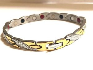 Authentic-Negative-Ion-Effect-Bracelet-women-039-s-SILVER-W-GOLD-balance