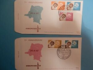 STAMPS-CONGO-FDC-40-41-5-ANS-D-039-INDEPENDANCE-1965