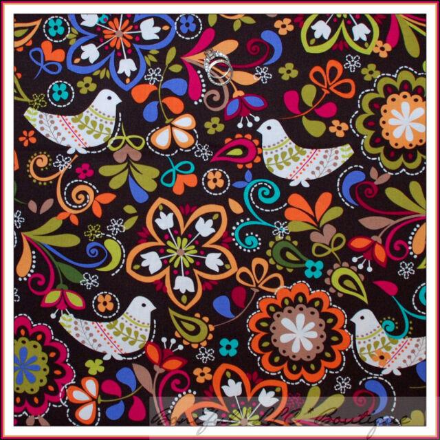 BonEful Fabric FQ Cotton Quilt Brown Pink Blue White Folk Art Bird Norway Flower