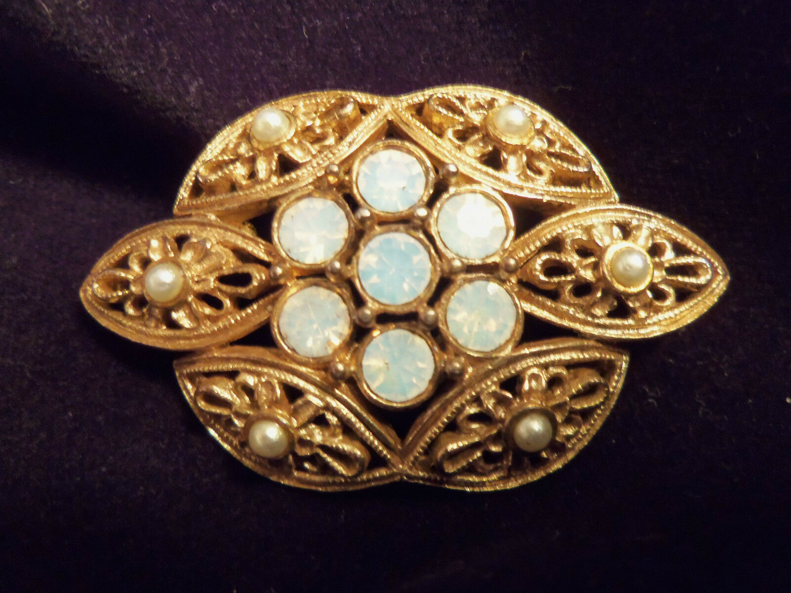 INCREDIBLE Vintage Textured ORNATE Gold Rhineston… - image 1