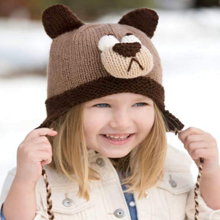 Cute Baby Childrens Bear Hat with Ear Flaps in Aran wool - Knitting ...