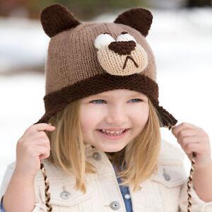 Cute Baby Childrens Bear Hat with Ear Flaps in Aran wool - Knitting ... cf694fc6baa