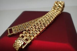 18ct-18K-Yellow-gold-solid-Diamond-cut-Watch-band-womens-mens-bracelet-8-039-20cm