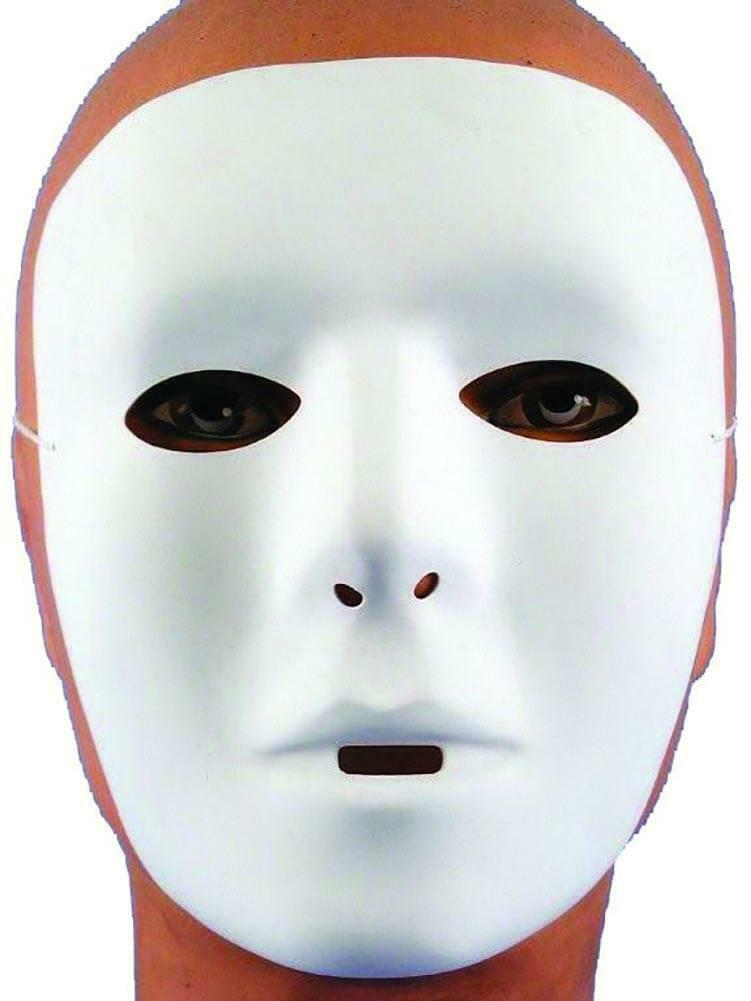 Male White Costume Mask One Size