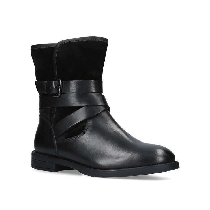 Carvela Ladies Black Leather Flat Low Heel Silver Biker Ankle Buckle Boots sz 5