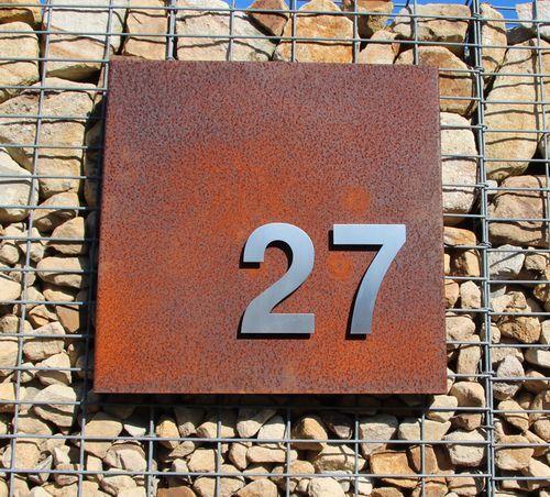 Edelstahl Zahlen Hausnummern Ziffern Schilder Cortenstahl Stahl Rost Edelrost