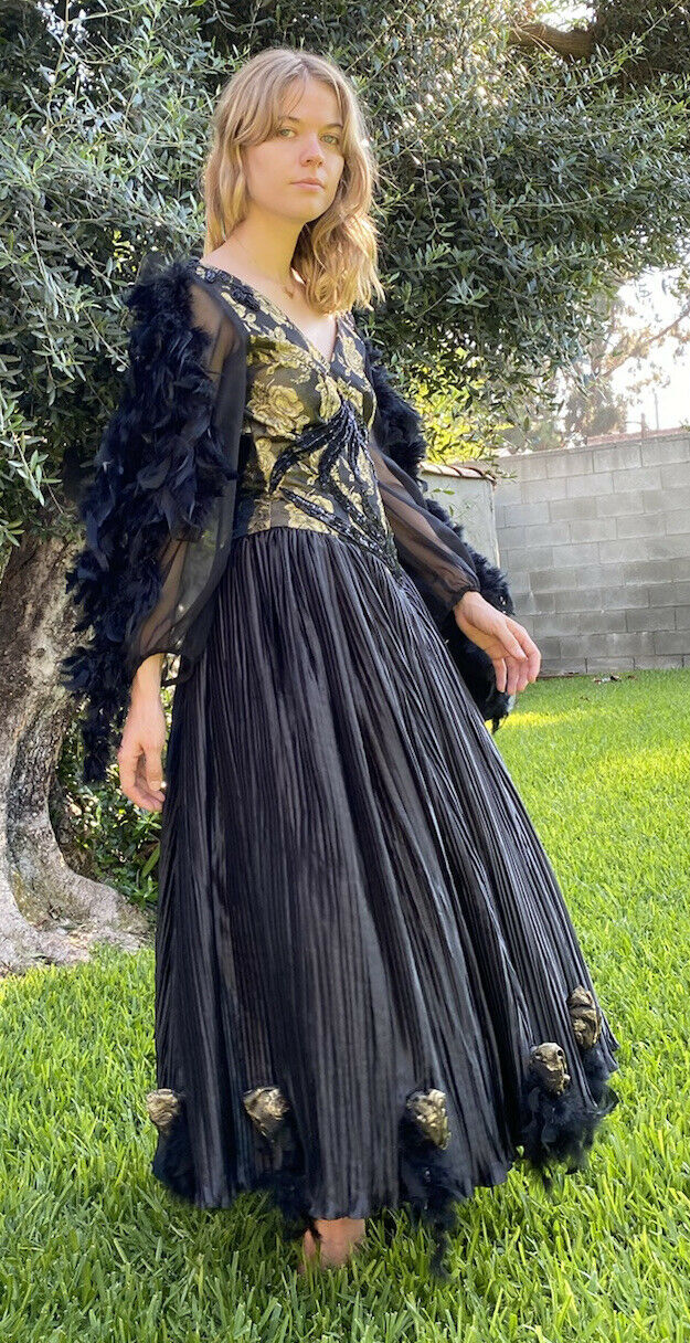vintage black beaded feathered ball gown - image 3