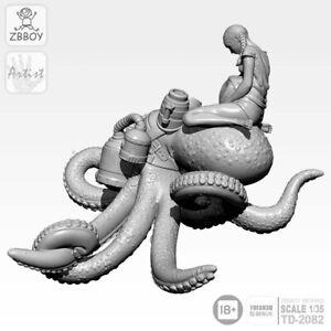 1-35-RESIN-KIT-Octopus-mariee-Femelle-Fille-Modele-non-peinte-Effrayant-surrealiste-creature