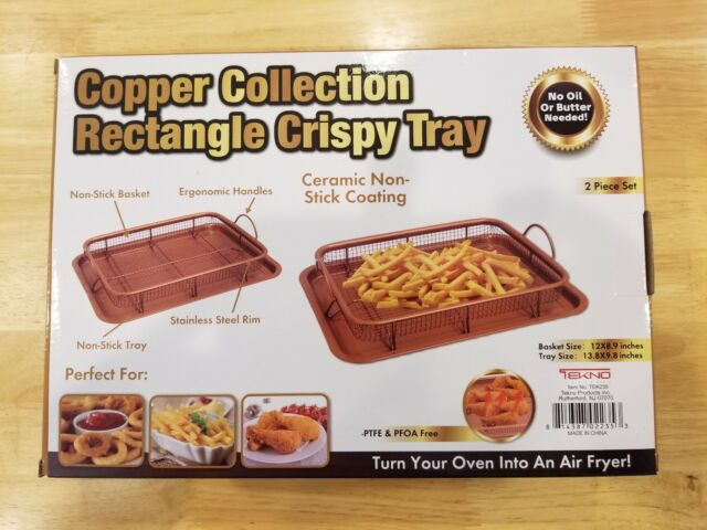 2 Pc Set Chef Baked Crispy Fried Chicken Fries Copper Air Fryer Oven Crisper