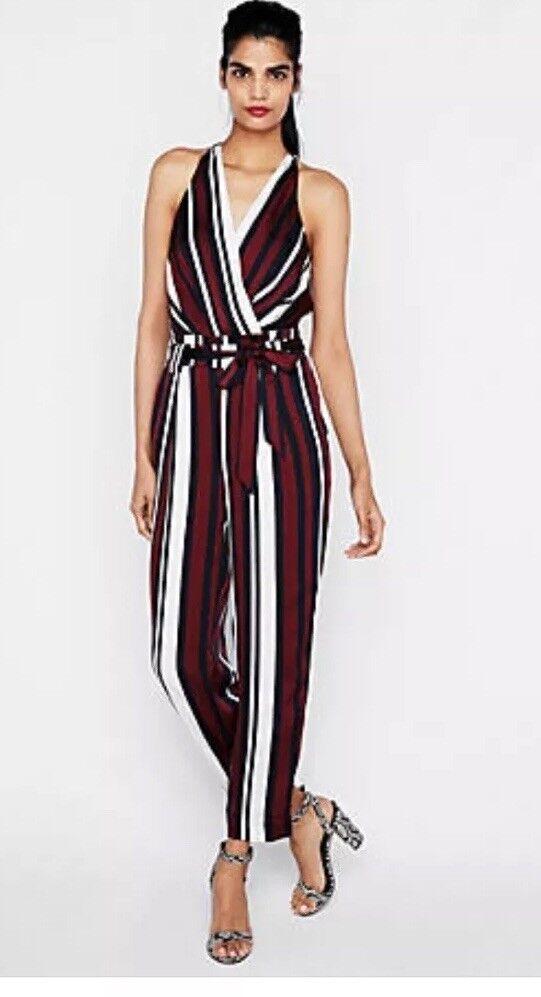 NWOT EXPRESS Stripe Striped Belted Surplice  Jumpsuit  80 Sz 10