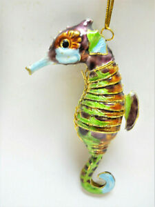 """Seahorse Ornament, Articulated Enameled Metal Sea Life Ornament, Gold Trimmed 4"""""""