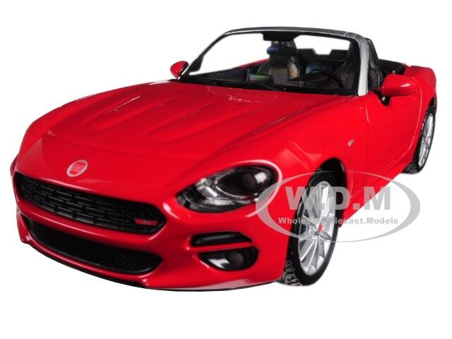 FIAT 124 SPIDER COUPE RED 1/24 DIECAST MODEL CAR BY BBURAGO 21083