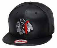 Era Chicago Blackhawks Snapback Hat Cap All Black Leather/grey Chief 9fifty