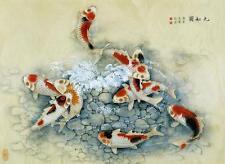 Framed Print - Traditional Japanese Artwork with Koi Carp (Asian Oriental Art)