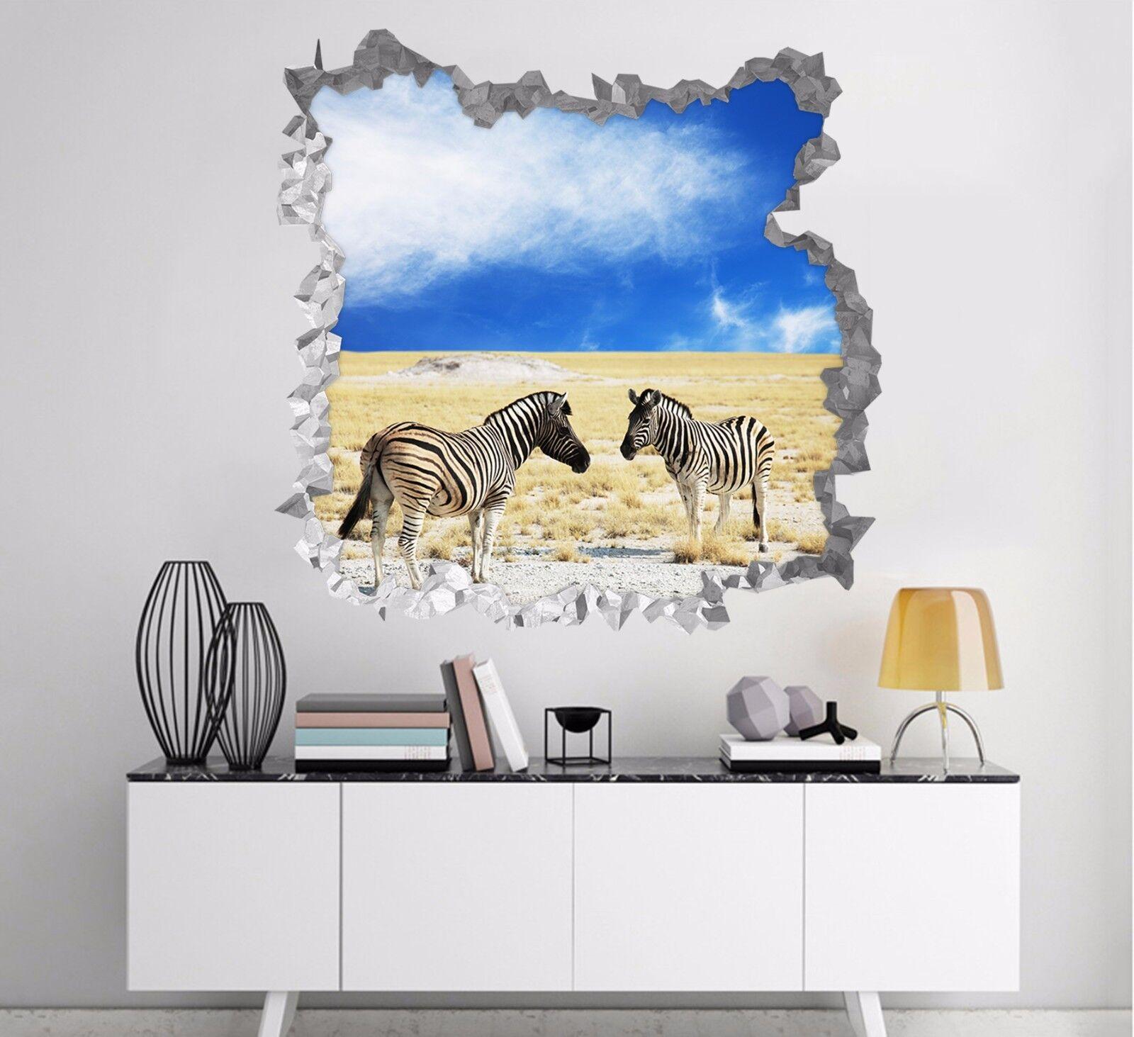 3D Zebre Del Prato 185 Parete Murales Parete Adesivi Decal Sfondamento IT